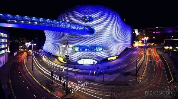 Light trails outside Selfridges at the Birmingham Bullring - Image (c) Nick Tsiatinis Photography. STRICTLY NO USE WITHOUT PERMISSION.
