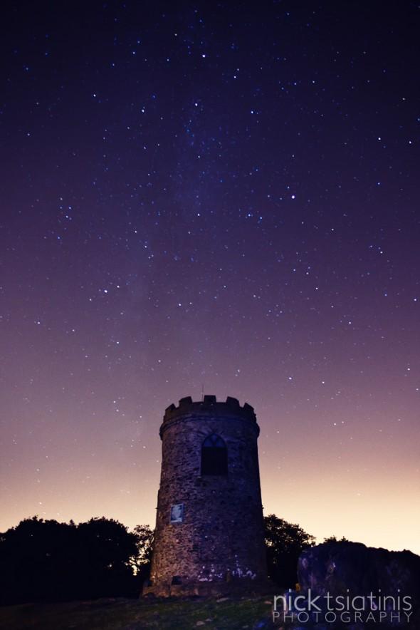 The Milky Way in the sky above Old John in Bradgate Park