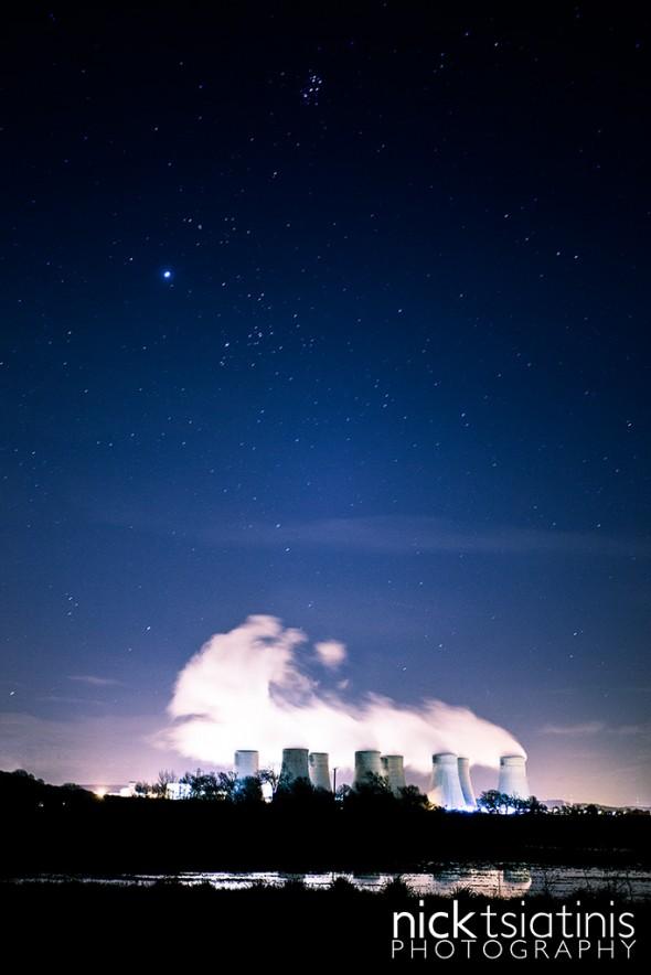 Ratcliffe on Soar Power Station, under a starry sky.
